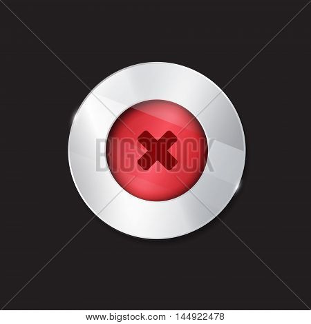 no button. 3d. silver elements with glass surface. red. stop cancel