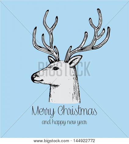 Hand drawn reindeer retro holiday greeting card