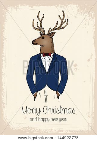 Hand drawn reindeer retro hipster holiday greeting card