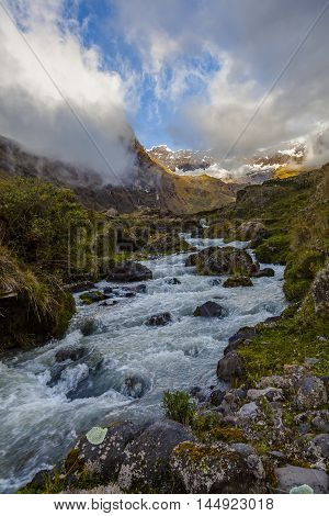 River which rises in the crater of a volcano, Collanes Valley in El Altar volcano Sangay National Park