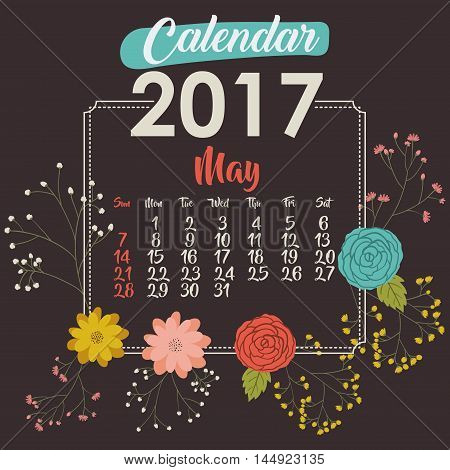 2017 may year calendar flowers floral garden planner month day icon. Colorful and Flat design. Vector illustration