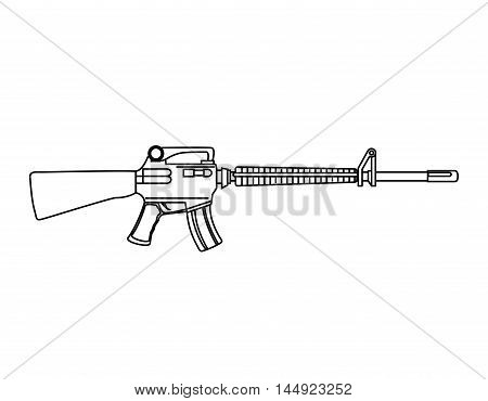 Submachine gun weapon semiautomatic handgun pistol gun firearm shot vector illustration