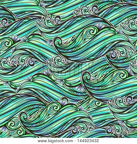 seamless pattern of shimmering emerald waves and ornamental flower