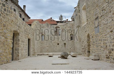 The shell of an old church in the historic old town of Dubrovnik Croatia.