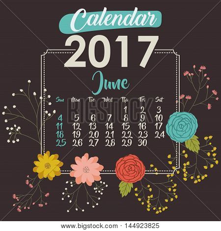 2017 june year calendar flowers floral garden planner month day icon. Colorful and Flat design. Vector illustration