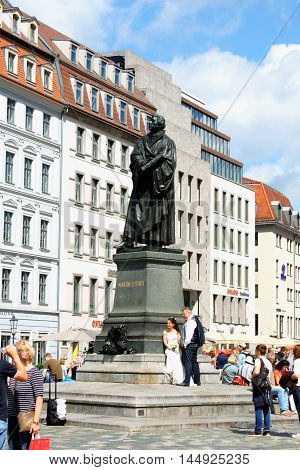 Dresden-13. aug 2016: wedding next to the Martin Luther monument in Dresden (Germany)
