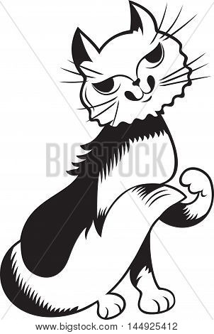 Pussycat, black and white style, vector illustration