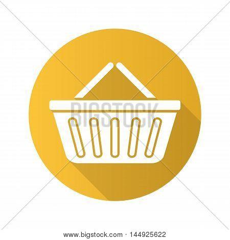 Supermarket basket flat design long shadow icon. Grocery store basket. Vector silhouette symbol