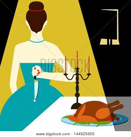 Bad housewife Vector illustration Woman with knife behind his back meets guest at the dinner table