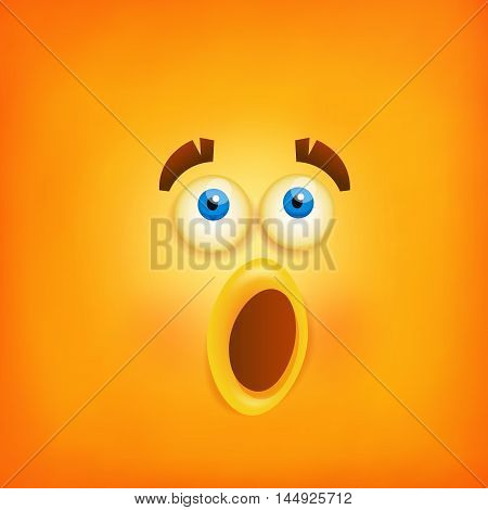 Funny yellow wondering smiley face icon. Vector illustration