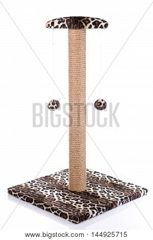 Cat scratching post  isolated on  white  background