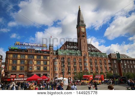 COPENHAGEN DENMARK - AUGUST 14 2016: Scandic Palace Hotel is a residential hotel on City Hall Square(The hotel was built by Anders Jensen from 1909. ) in Copenhagen Denmark on August 14 2016.