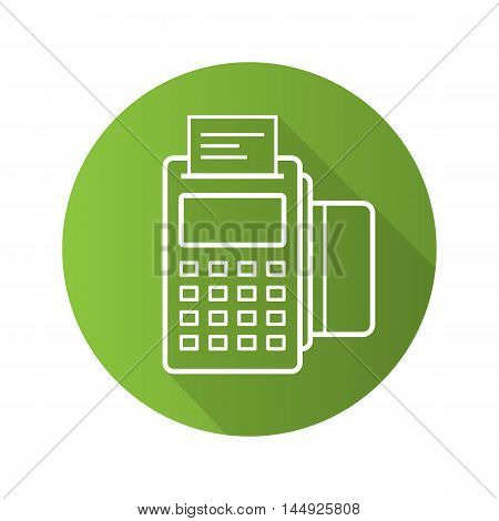 Pos terminal flat linear long shadow icon. Store payment terminal with credit card and check. Vector line symbol