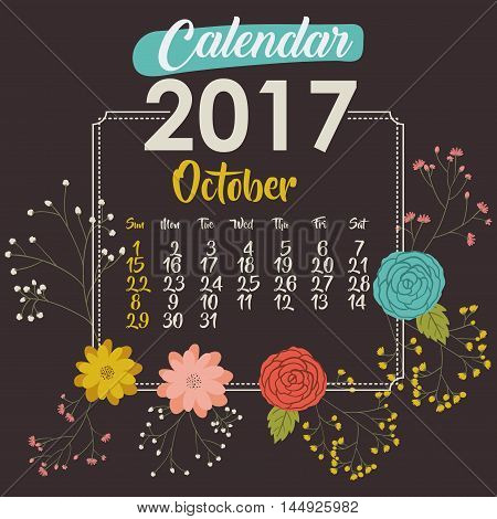 2017 october year calendar flowers floral garden planner month day icon. Colorful and Flat design. Vector illustration