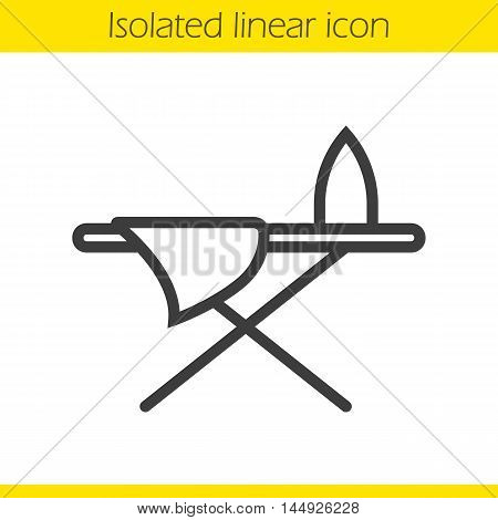 Ironing board linear icon. Thin line illustration. Contour symbol. Vector isolated outline drawing
