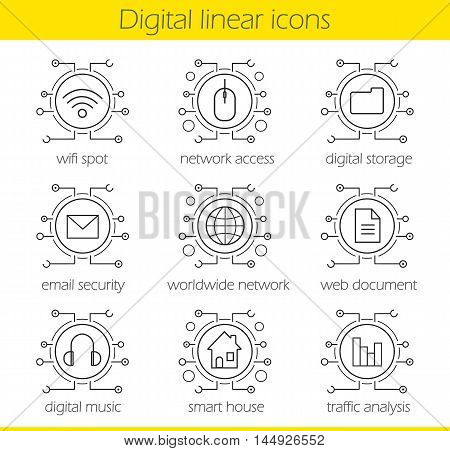 Cyber technology linear icons set. Cloud computing. Wifi, access, digital storage, email security, worldwide network, web document, music and smart house. Thin line. Isolated vector illustrations