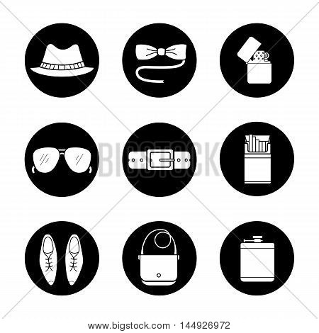 Men's accessories icons set. Butterfly tie, sunglasses, hat, alcohol flask, open cigarette pack, leather belt, bag, classic shoes and flip lighter symbols. Vector white illustrations in black circles