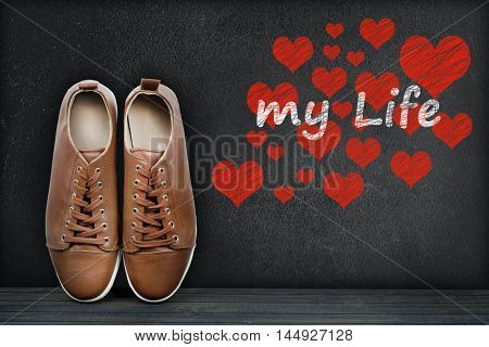 Love my life text on black board and shoes