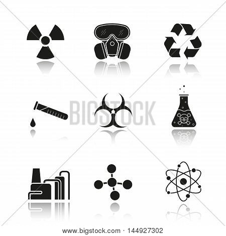 Chemical industry drop shadow black icons set. Gas mask, recycle symbol, chemical test tube, poison danger liquid, factory pollution. Biohazard and molecule symbols. Isolated vector illustrations