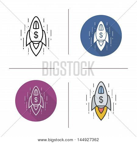 Spaceship icon. Flat design, linear and color styles. Goal achievement symbol. Rocket spaceship with dollar sign. Isolated vector illustrations