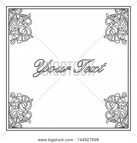 Decoration frame, floral frame, deco frame, vignette frame, graphic frame, scroll frame, menu frame, ornate frame. Vector.