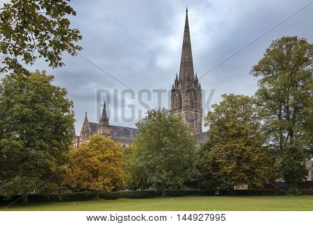 Salisbury Cathedral, formally known as the Cathedral Church of the Blessed Virgin Mary, is an anglican cathedral in Salisbury, England
