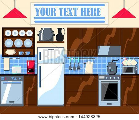 Kitchen room illustration with place for text. Cozy house vector illustration with kitchenware teapot fridge stove dishwasher board. House appliance and wooden furniture banner or card template