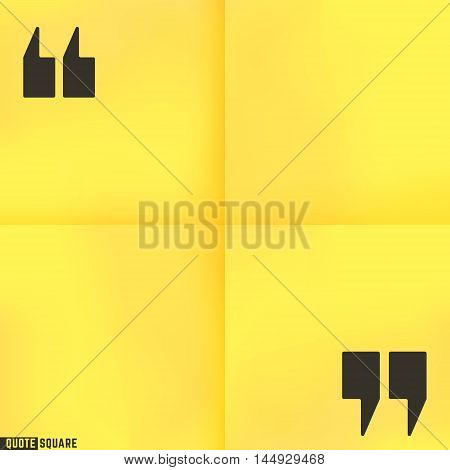Blank quote square. Text box template. Yellow stick note design. Vector illustration.