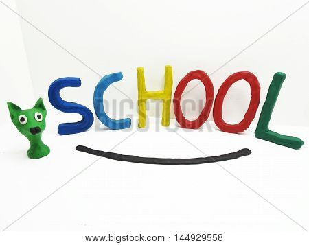 The Word School Made From Plasticine.