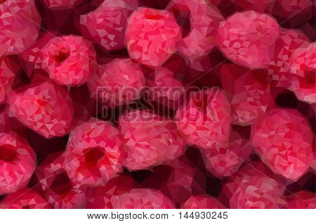 Low poly illustration ripe of fresh red raspberry background close up