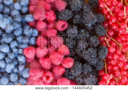 Low poly illustration rows of fresh berries on table - blackberry, raspberry and blueberry