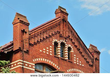 Ancient German building. City Zelenogradsk (before 1946 Cranz) Kaliningrad region Russia