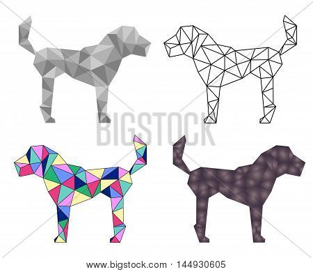 Low poly dog vector illustration. Polygonal dog isolated on white background. Abstract dog icon. Outlined polygon dog. Grey shades polygonal image. Colorful low poly artwork. Dog poster or banner