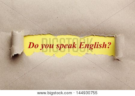 Torn brown paper for text, do you speak english
