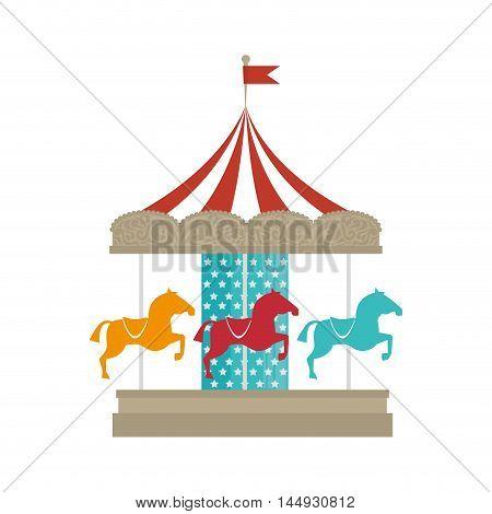 carousel attraction carnival circus entertainment horses cartoon vector illustration