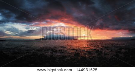 Sunset at Maui, Hawaii, Color Image, USA
