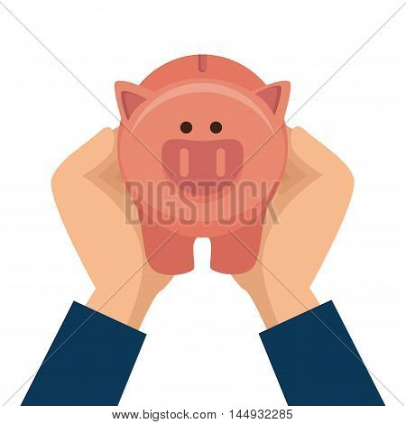 piggy pig moneybox cartoon financial economy vector illustration