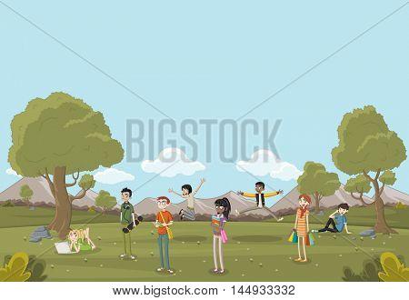 Cartoon teenagers on beautiful park. Nature landscape.