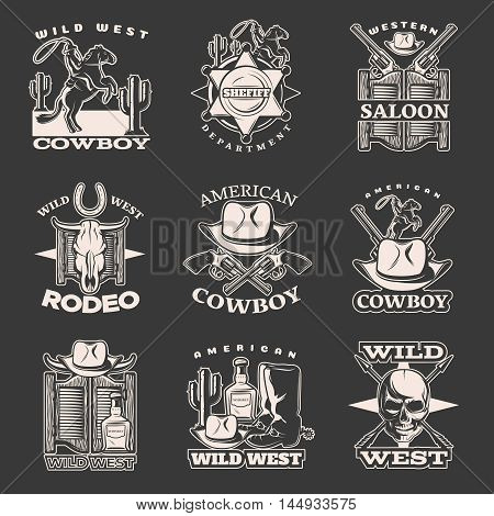 Isolated white wild west emblem set on dark with sheriff department western saloon American cowboy descriptions vector illustration
