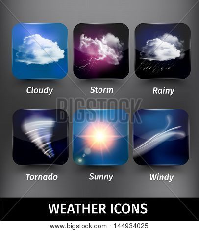 Realistic square weather icon set on cloudy storm rainy tornado sunny windy themes vector illustration