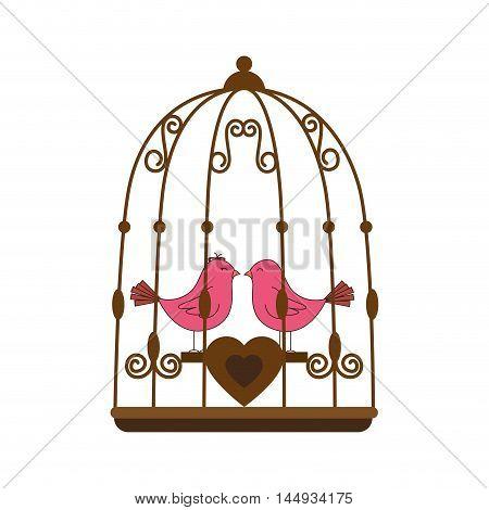 pink birds love heart cage valentine decoration vector illustration