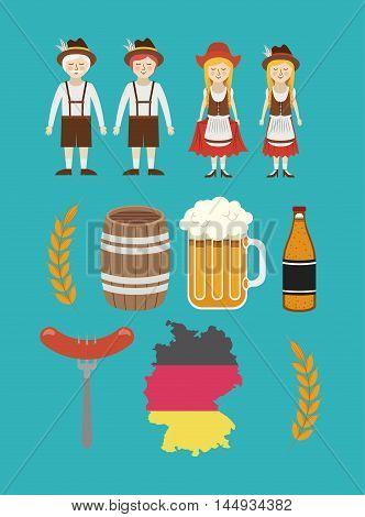 man woman beer barrel german germany cartoon avatar cloth traditional oktoberfest icon. Colorful and Flat design. Vector illustration
