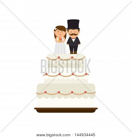 wedding cake love sweet food dessert couple just married ceremony vector illustration