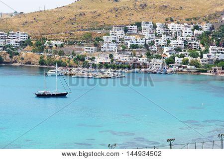 Recreation yachts near beach on Turkish resort Bodrum Turkey