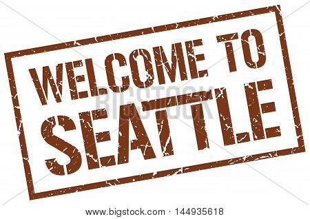 welcome to Seattle. stamp. grunge square sign