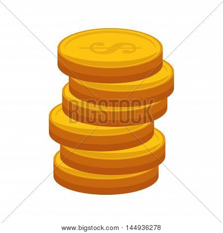 gold stack coins money cash economy financial item vector illustration