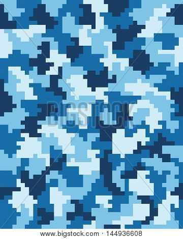 Seamless blue digital fashion camouflage pattern, vector illustration