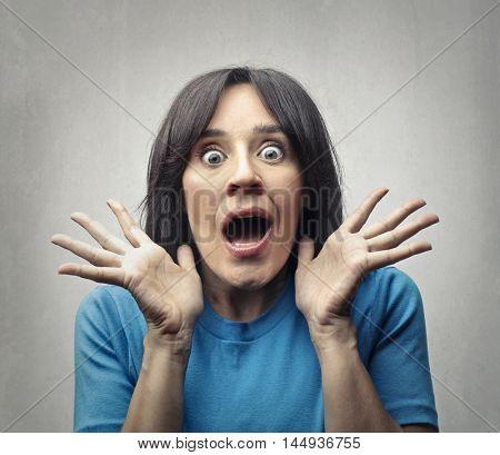 Shocked woman's portrait