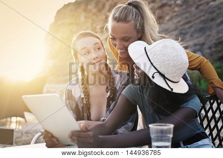 Friends using a tablet