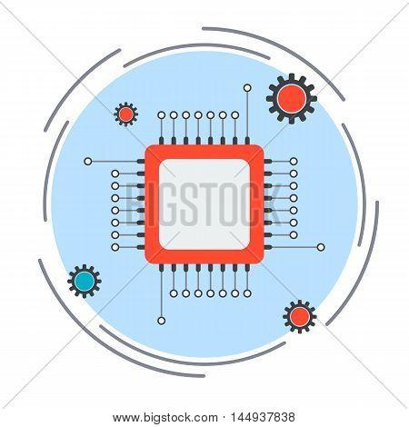 Computer processor flat design style vector illustration